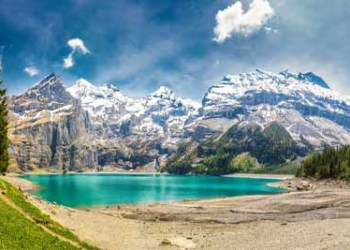 Wallis Oeschinnensee With Waterfalls In Swiss Alps, Kandersteg, Switzerland AdobeStock 160306964 400x