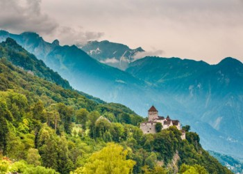 Wide View Of Vaduz Castle And Alps, Lichtenstein AdobeStock 127442274 1024x