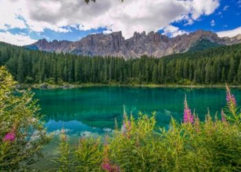 Eggental Beautiful View Of Carezza Karersee Lake With Mount Latemar Bolzano Province South Tyrol Italy T20 Dxzekl Panorama 400x